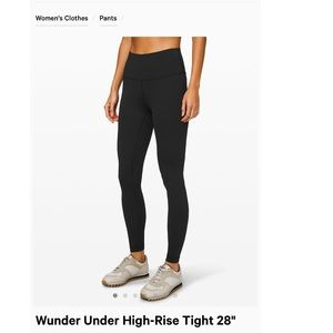 Lululemon wunder under black 28""